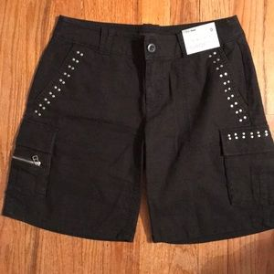 NY&CO BLACK LINEN LOW RISE CARGO SHORTS SZ 0 NWT